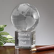 LONGWIN Personalize Crystal Globe Award With Display Stand
