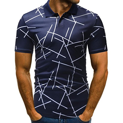 vermers Mens Polo Shirts Buttons Design Half Cardigans Short Sleeve Patchwork Casual T Shirt(3XL, - Jersey Color Multi Stripe Polos