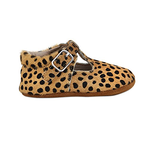 Babe Basics Baby Mary Janes by Hard-soled Genuine Leather Moccasins With T-Strap For Babies and Toddlers (M | 12-18m | US 5-5.5, Leopard)