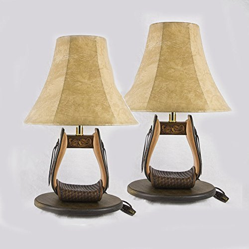 Hand Tooled Leather Stirrup Lamps (1 Pair) on Solid Wood Base (SLWBP001) (Acorn Lamp Base)