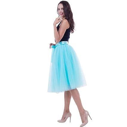KLGDF Falda 6 Capas 65 cm Falda de Tul de Moda Faldas Plisadas de ...