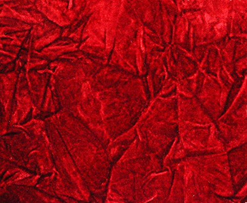 "CRUSHED FLOCKING VELVET UPHOLSTERY / CURTAIN FABRIC 10 COLORS 60"" BY THE YARD (RED)"