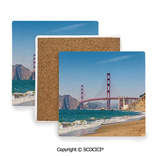 (Ceramic Coaster With Cork Mat on the back side, Tabletop Protection for Any Table Type, Square coaster,Landscape,Panoramic View of Golden Gate Bridge Francisco,3.9