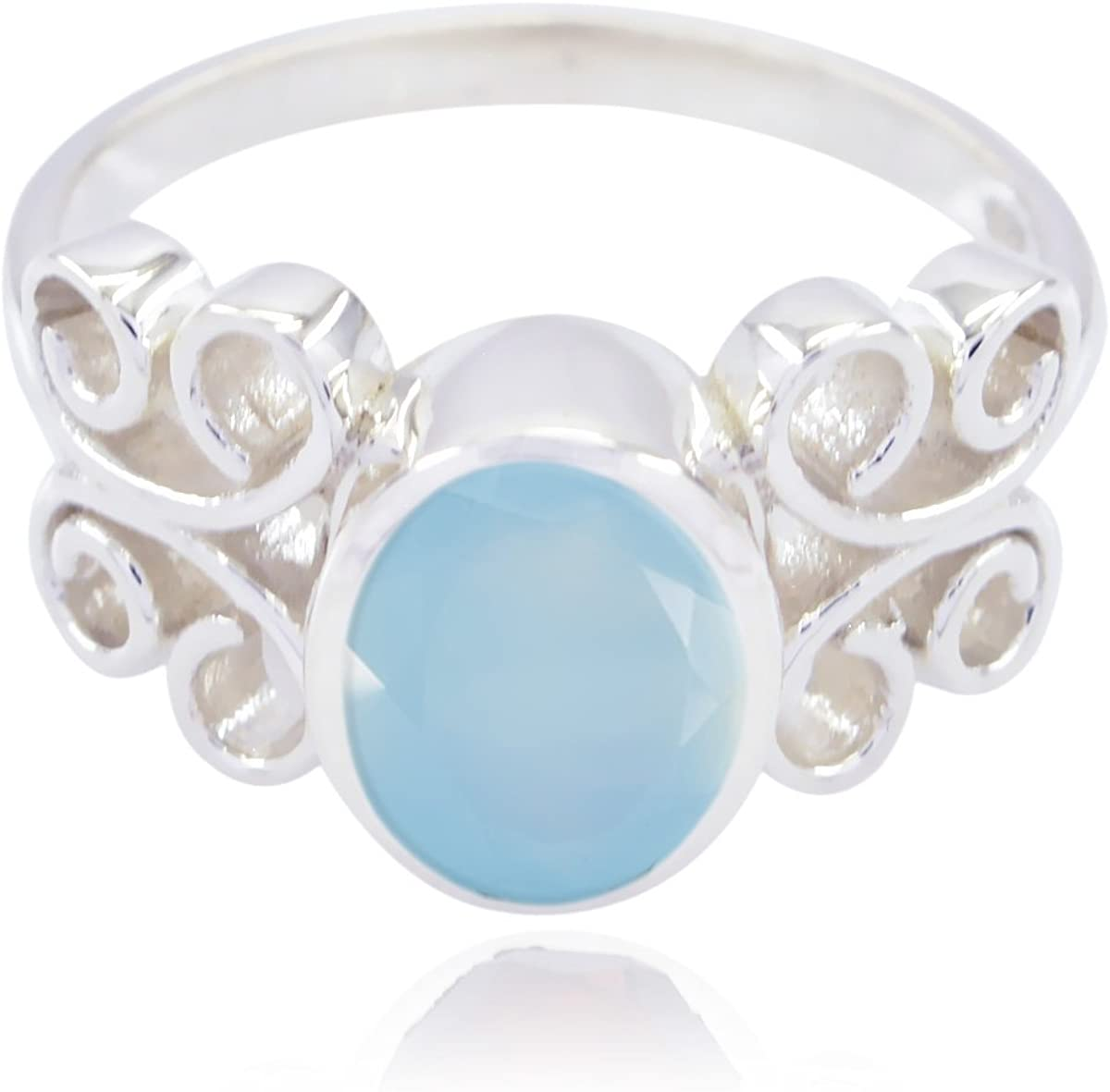 Nice Gemstone Oval Faceted Chalcedonys Ring Fashion Blue Chalcedonys Nice Gemstone Ring ledies Jewelry Most Selling Items Gift for Cyber Monday Bridesmaid Gift
