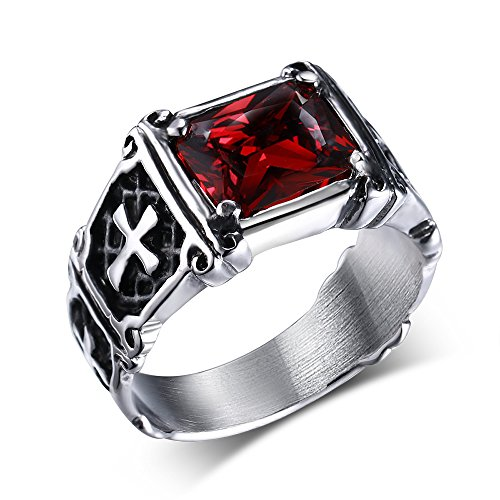 [Men's Vintage Pinky Crystal Stainless Steel Cross Ring Band Gothic Biker Silver Black Red] (Pregnant Basketball Costume)