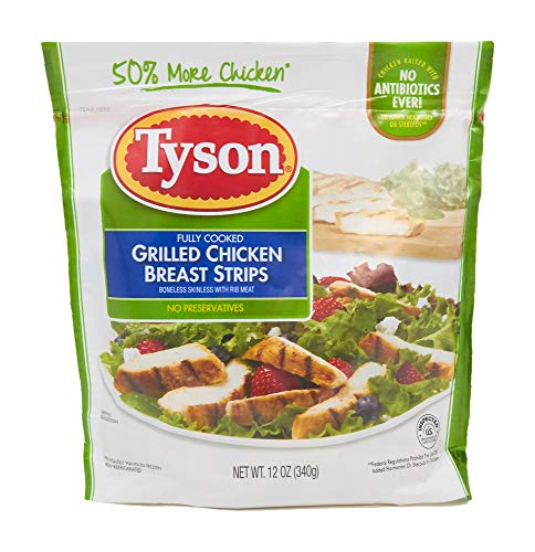 All Natural Grilled Chicken Strips - Tyson, Grilled & Ready Fully Cooked Chicken Breast Strips, 12  oz