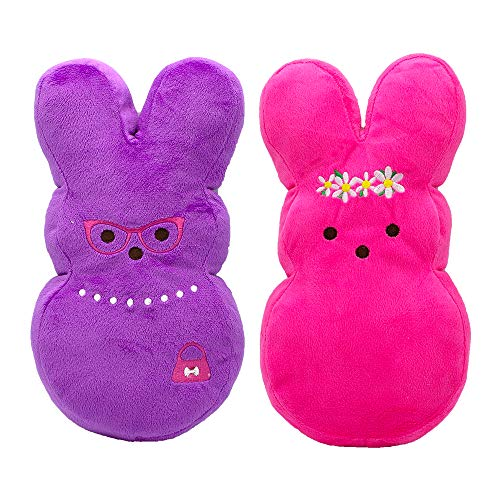 Peeps Large Dress Up Plush Bunny Toys For Dogs and Puppies, Pack of 2 | Squeaker Dog Toys With Embroidery in Pink Flower and Purple ()