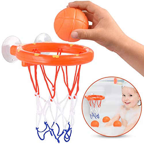 HAKOL Bath Basketball Toy Set for Toddlers & Kids - Bathtub Basketball Hoop with Suction Cups & 3 Lightweight Shooting Balls - Indoor & Outdoor Mini Basketball Toy Playset - Fun & Educational Game -