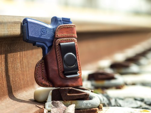 OUTBAGS USA LS3PM9X Full Grain Heavy Leather IWB Conceal Carry Gun Holster for Kahr PM9 9mm with Crimson Trace Laser. Handcrafted in USA.