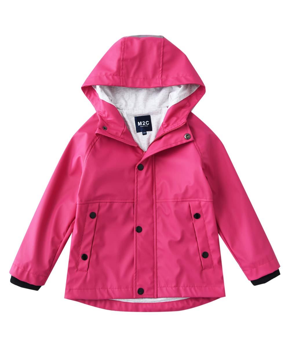 M2C Girls Hooded Cotton Lined Waterproof Rain Jackets Windproof Raincoats Pink 7/8 by M2C