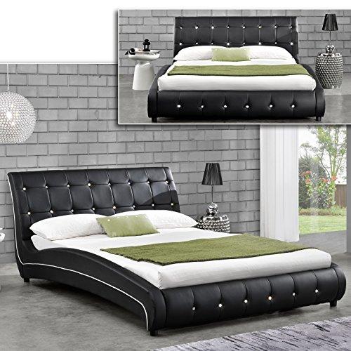 JAVI Schwarz Doppelbett Polsterbett Bettgestell Bett Lattenrost Kunstlederbett (140cm x 200cm)