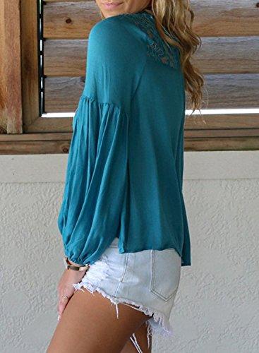 de larga manga Achicgirl de con ahueca azul mujer Blusa fuera hacia de floral encaje 6qwzdqHf