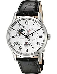 Men's 'Sun and Moon' Japanese Automatic Stainless Steel and Leather Casual Watch, Color:Black (Model: FET0T002S0)