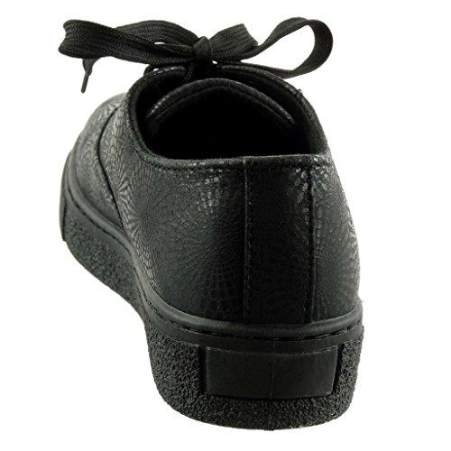 Negro Tacón Angkorly Brillantes 3 Moda cm de Talón Plano Mujer Deportivos Flores Zapatillas wSqCA