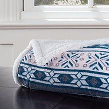 "Somerset Home Fleece Sherpa Blanket Throw Blanket, Snow Flakes 50"" x 60"""