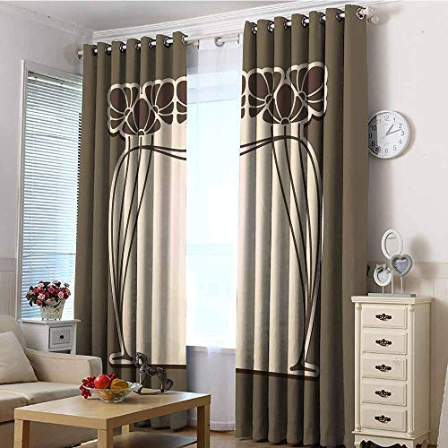 TT.HOME Window Curtain Panel,Art Nouveau Flower Bouquets Forming an Arch Vintage Style Feminine Old Fashioned,Room Darkening, Noise Reducing,W120x96L Cream Umber Brown Art Nouveau Bronze Door