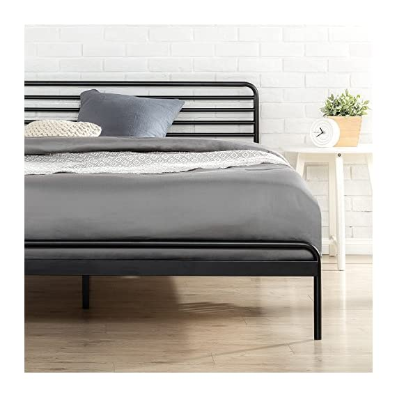 Zinus Tom Metal Platform Bed Frame / Mattress Foundation / No Box Spring Needed / Wood Slat Support / Design Award… - 10 inch high low profile foundation supports memory foam, Spring, and Hybrid mattresses Strong Steel frame structure with wood slats prevents sagging and increases mattress life Assembles easily in minutes/ Mattress sold separately - bedroom-furniture, bedroom, bed-frames - 51RSVSMeRdL. SS570  -