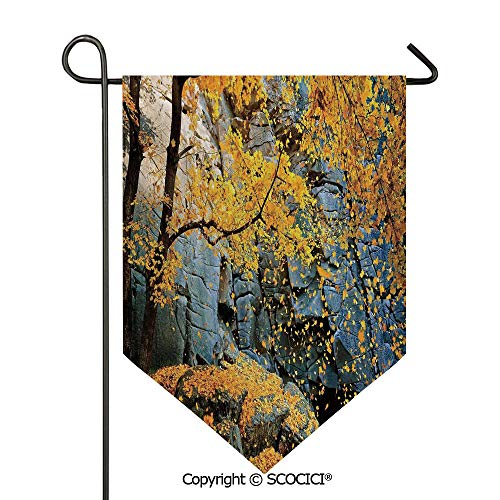 SCOCICI Easy Clean Durable Charming 28x40in Garden Flag Canadian Maple Trees Falling Leaves Down Surrounded by Scenic Rocks Stones Foliage,Grey Orange Double Sided Printed,Flag Pole NOT Included