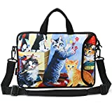 AUPET 9.7' 10' 10.1' 10.2' Inch Neoprene Laptop Bag with Extra Side Pocket, Soft Carrying Handle & Removable Shoulder Strap For 9' to 10.6' Laptops/Netbook/Tablet/Reader (Nice Cat Painting)