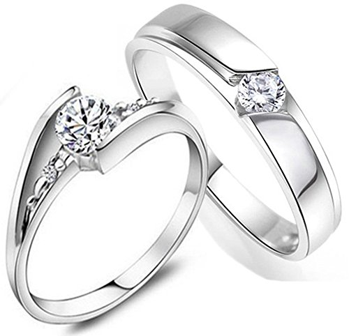 Psiroy 925 Sterling Silver Cubic Zirconia Love Couples Promise Ring Mens Womens Wedding Band