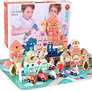 HomeMall Wooden Building Blocks Set, City Construction and Shape Stacking Preschool Education Learning Toys, C
