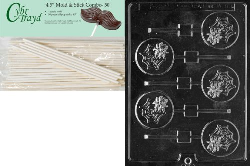 Cybrtrayd 45St50-H082 Spider in Web Lolly Halloween Chocolate Candy Mold with 50 4.5-Inch Lollipop Sticks