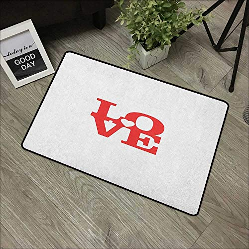 Learning pad W19 x L31 INCH Love,Valentines Day Design Romance Themed Vintage Wedding Inspirations Typographic Retro, Red White Easy to Clean, Easy to fold,Non-Slip Door Mat -