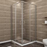 SUNNY SHOWER Corner Shower Enclosure 1/4 in. Clear Glass Double Sliding Shower Doors, 36 in. X 36 in. X 72 in. Bath Door, Brushed Nickel Finish (Shower Base Not Included)