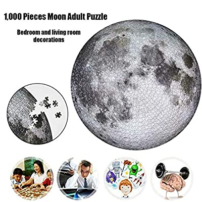 MYTZ 1000 Pieces Puzzles Adult Difficult and Challenge Circular Puzzle Moon Earth Europe Australia Funny Toys Games Learning Teens Kids Home Education: Toys & Games