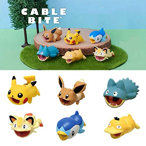Cute Anime Bite Cable Protector - 6 PCS (Pikachu,Eevee,Piplup,Psyduck,Meowth,Snoelax) Charger Pet,Cable Buddy(Compatible with iPhone Cords Only),Gift Fit Friends & Children