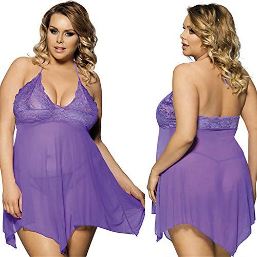 Women Sexy Lingerie Lace Nightgown Babydoll Bath Robe Nightwear Sleepwear with G-String Briefs -