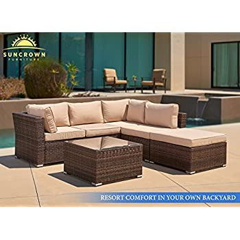 Suncrown Outdoor Furniture Sectional Sofa (4-Piece Set) All-Weather Brown Checkered Wicker with Brown Washable Seat Cushions & Glass Coffee Table | Patio, Backyard, Pool | Waterproof Cover & Clips