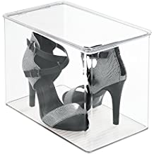 mDesign Closet Storage Organizer Shoe Box, for High Heels, Tall Pumps, Boots - Clear