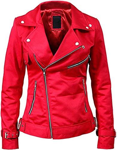 Royal Gallery Riverdale - Chaqueta de Piel para Mujer, Color Rojo y Negro: Amazon.es: Ropa y accesorios