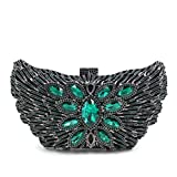 Purses for Women Luxury Rhinestone Butterfly Crystal Evening Clutch Bags Vintage Party (Black)