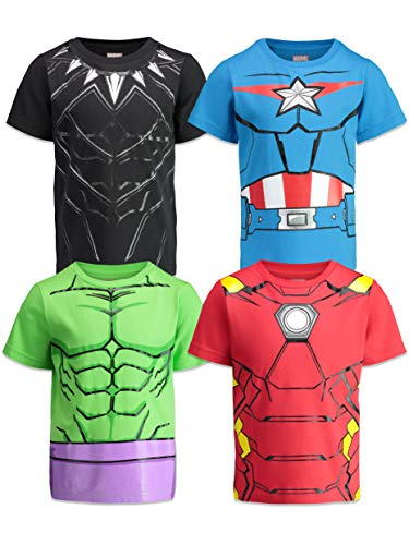 Marvel Avengers Boys 4 Pack T-Shirts Black Panther Hulk Iron Man Captain America 3T ()
