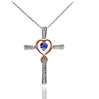 Sterling Silver Created Emerald Cross Heart Necklace for Girls, Teens or Women