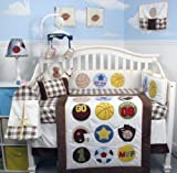Super Sport Fan (cream and brown) Baby Crib Nursery Bedding Set 14 pcs included Diaper Bag with Changing Pad & Bottle Case