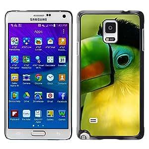 TopCaseStore / la caja del caucho duro de la cubierta de protección de la piel - Parrot Green Beak Tropical Bird Nature - Samsung Galaxy Note 4 SM-N910