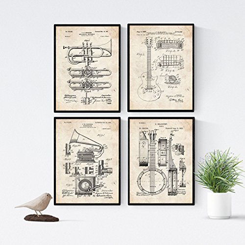 Nacnic Vintage - Pack of 4 Sheets PATENTS Music. Set Posters Inventions Old patents. Choose The Color You Like. Printed on 250 Grams (Music Posters Games)