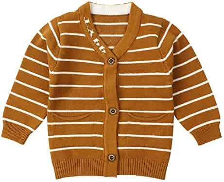 0f0350c04 Newborn Boys Sweater Infant Baby Striped Sweatshirt V Collar,Button Up,Cable  Knit Cardigan