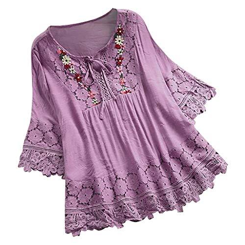 (Witspace Women Vintage Lace Patchwork Bow V-Neck Three Quarter Blouses Top T-Shirt)