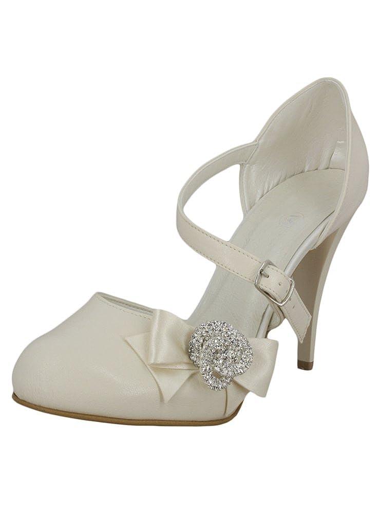 Boutique-Magique Chaussures Mariage Femme Blanc ou Ivoire Noeud avec Bijou