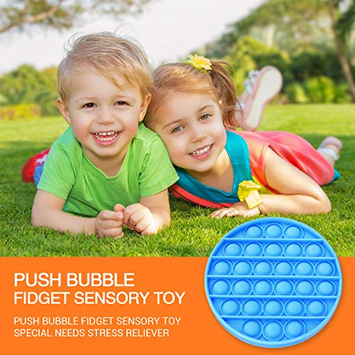 Push Pop Bubble Fidget Sensory Toy Special Needs Anxiety Stress Reliever Flower Shape for Kids, Family and Friends, 2 Pack, Round Blue