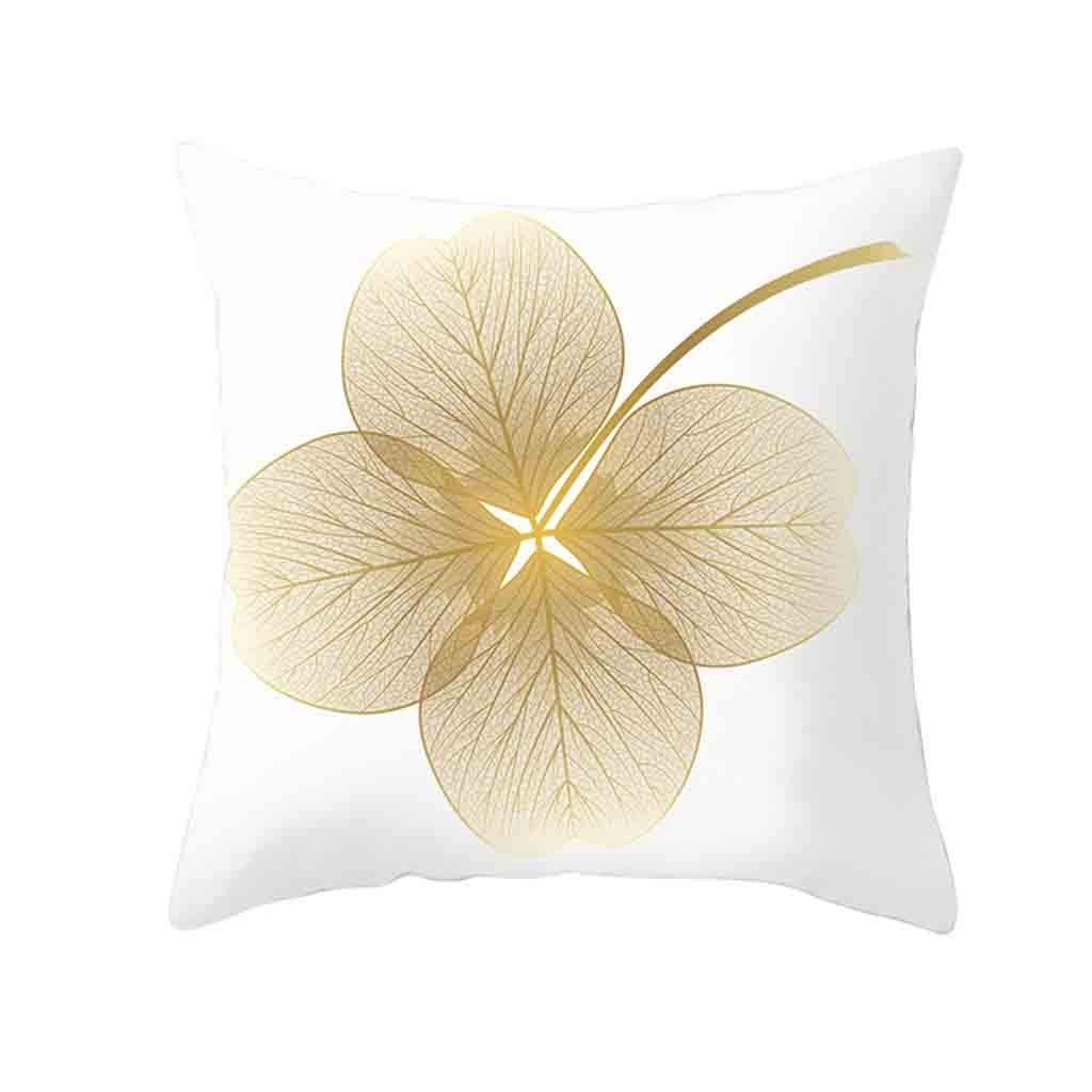 Pet1997 Golden Leaf Hug Pillowcase, Gold Plant Printed Polyester Pillow Case Cover, Sofa Cushion Cover, Home Decor, Luxury Bedding,18 X18 Inch (C)