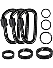 cridoz Carabiner Keychain Clip Hook, 3pcs Locking Carabiner D Ring Clips with 9pccs Black Flat Key Ring for Water Bottles, Dog Tags and Car Keys (Assorted Sizes)