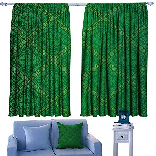 Mannwarehouse Green Simple Curtain Vector Illustration Seamless Pattern of Foliage Wallpaper Pattern Artwork Print Noise Reducing 72
