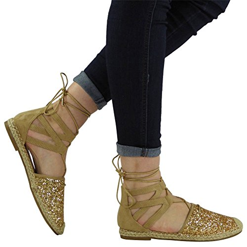 Ankle Flat Glitter Size Sandals Womens Ladies Gold 3 Up 8 Lace Shoes Low Espadrilles Heel twZnXqC
