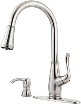 Pfister Avanti Single Handle Pull Down Sprayer Kitchen Faucet In Stainless Steel