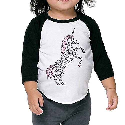 Saroyan Geometric Unicorn Rearing Toddler Raglan T-Shirts Baseball Tee 3/4 Sleeve 3 Toddler
